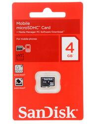Карта памяти SanDisk microSDHC 4 Гб