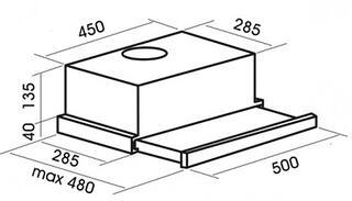 Вытяжка полновстраиваемая MBS Aralia 250 серебристый