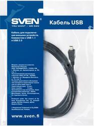 Кабель соединительный USB 2.0 A вилка - mini-USB 5pin вилка, 1.8m, Sven