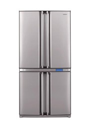 Холодильник с морозильником Sharp SJF96SPSL серебристый