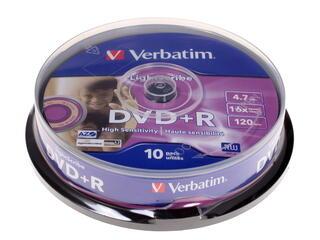 Диск DVD+R 4.7Gb Cake Box  10 шт. (Verbatim) LightScribe 16x