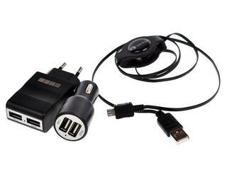 Сетевое + автомобильное зарядное устройство InterStep IS-CK-MICRO2KRT-000B201