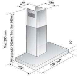 Вытяжка каминная Korting KHC 6957 X серебристый