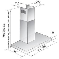 Вытяжка каминная Korting KHC 9957 X серебристый
