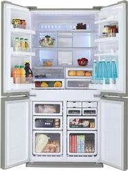 Холодильник с морозильником Sharp SJFP97VST серебристый