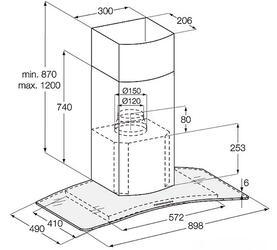 Вытяжка каминная Electrolux EFC90245X серебристый