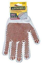 """Перчатки STAYER """"МASTER"""" трикотажные, 7 класс, х/б, с защитой от скольжения, L-XL, 3 пары"""