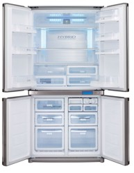 Холодильник с морозильником Sharp SJF95PSSL серебристый