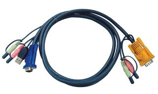 [ATEN 2L-5305U] Кабель/шнур, монитор+клавиатура+мышь USB+аудио, SPHD15+2xRCA=\>HD DB15+USB A-Тип+2xRCA, Male, 8+4+2x2 проводов, опрессованный, 5 метров