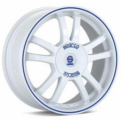 Автомобильный диск Литой SPARCO Rally 7x16 4/100 ET 37 DIA 63,3 White + Blue Lip