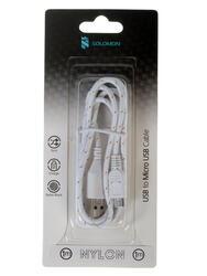 Кабель Solomon Nylon micro USB - USB белый