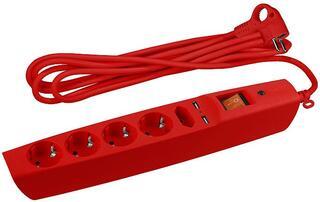Сетевой фильтр ЭРА SFU-5es-2m-R красный