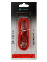Кабель Solomon Nylon micro USB - USB красный