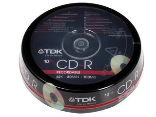Диск CD-R 700 Mb Cake Box  10 шт. (TDK) 52x