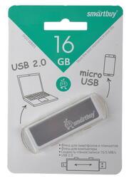Память USB Flash Smartbuy Duo Silver 16 Гб