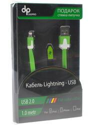 Кабель DIOPRO для Apple 8 pin - USB (1м, плоский, Зеленый)