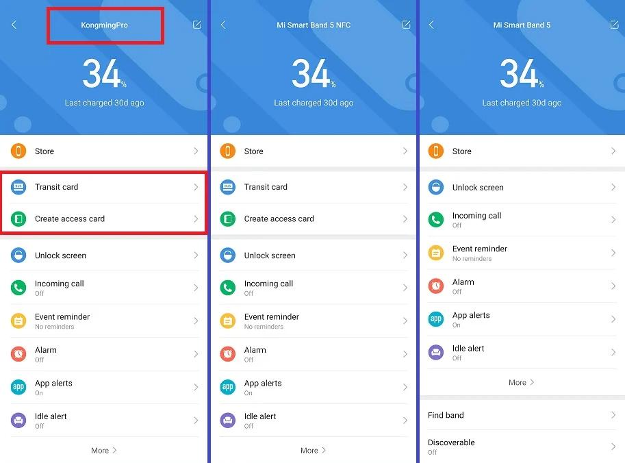 Скриншот приложения Mi Wear с демонстрацией возможности существования браслета Xiaomi Mi Band 5 PRO
