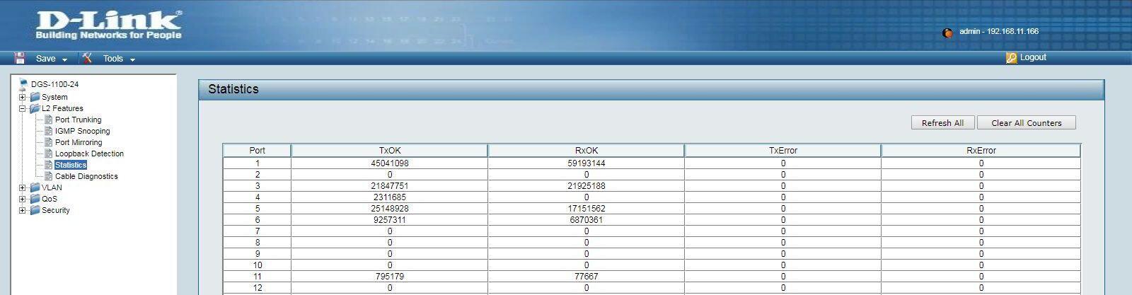 Setevoe oborudovanie - Sredstva statistiki i diagnostiki kabelya v byudzhetnyh kommutatorah D-Link.