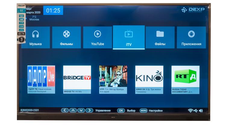 """Обзор 55"""" телевизора LED DEXP U55E9000K"""