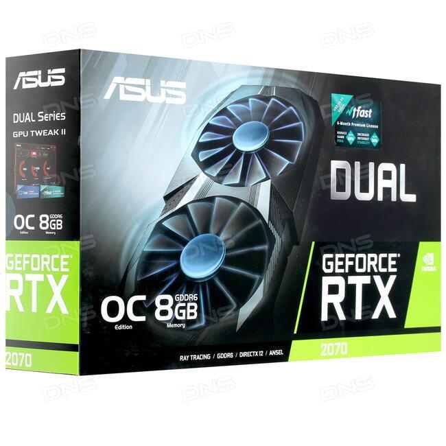 Купить Видеокарта ASUS GeForce RTX 2070 DUAL OC [DUAL-RTX2070-O8G] в  интернет магазине DNS  Характеристики, цена ASUS GeForce RTX 2070 DUAL OC |