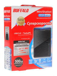 "Внешний HDD Buffalo 500GB MiniStation Air 2.5"" USB 3.0 WiFi Black"