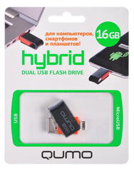Память OTG USB Flash Qumo Hybrid  16 Гб