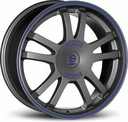 Автомобильный диск Литой SPARCO Rally 7x16 4/108 ET 25 DIA 73,1 Matt Silver Tech blue lip