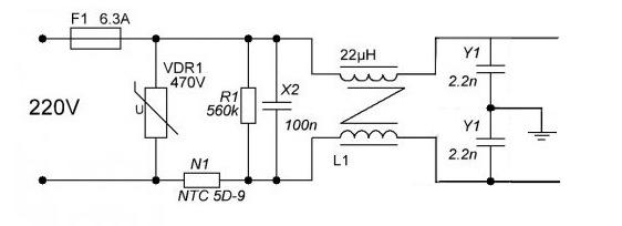 Схема входного вильтра для подавления помех