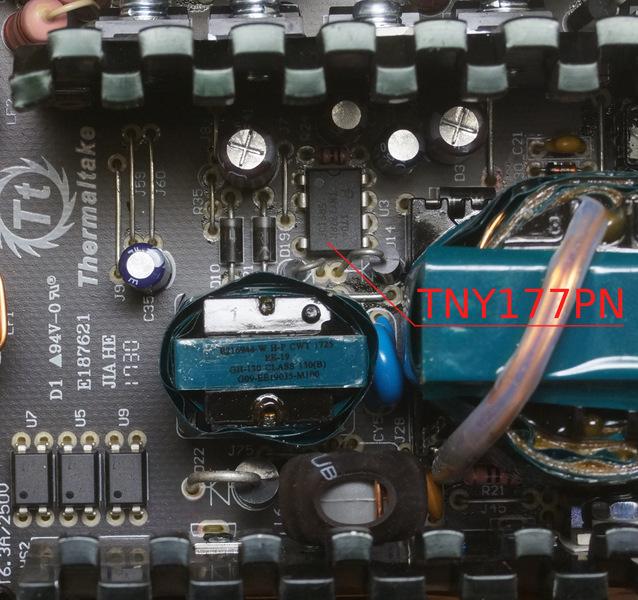 Дежурка на TNY177. Ниже трансформатора виден выпрямитель на диоде (D22).