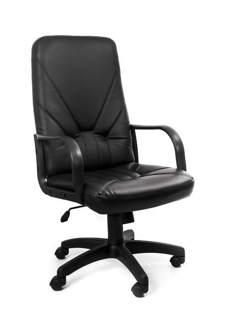 Кресло Recardo Leader (Чёрный ЭКО КОЖА 120кг высота спинки 650мм ВШГ 1070-1165*525*500мм крест. пластик 640мм подлокоткии пластик)