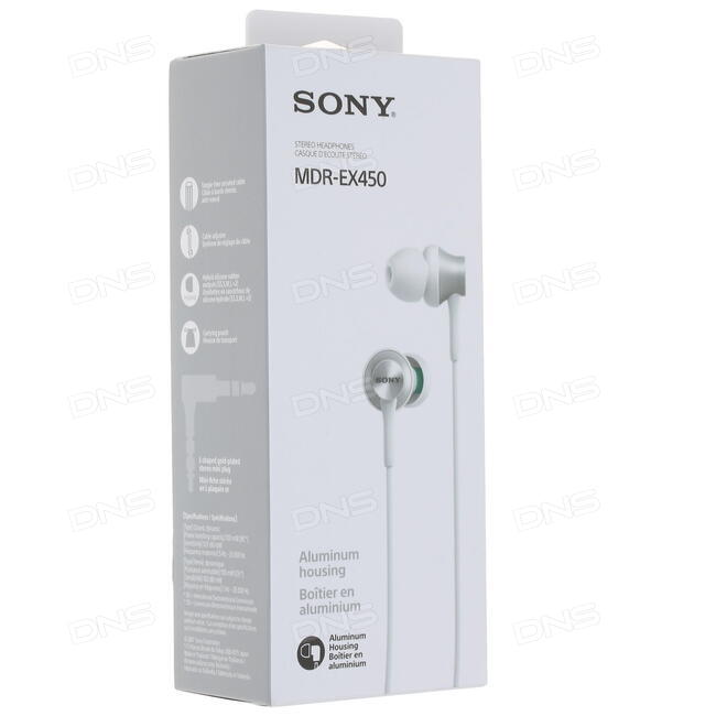 Купить Наушники Sony MDR-EX450W белый в интернет магазине DNS ... 47bb399a5465c