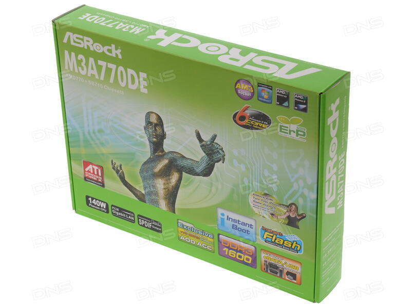 Купить Плата ASRock Socket-AM3 M3A770DE AMD770/SB710 4xDDR3-1600